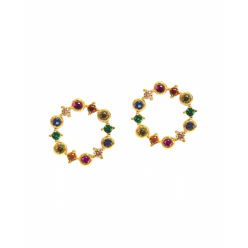 Multi Colored Open Circle Studs