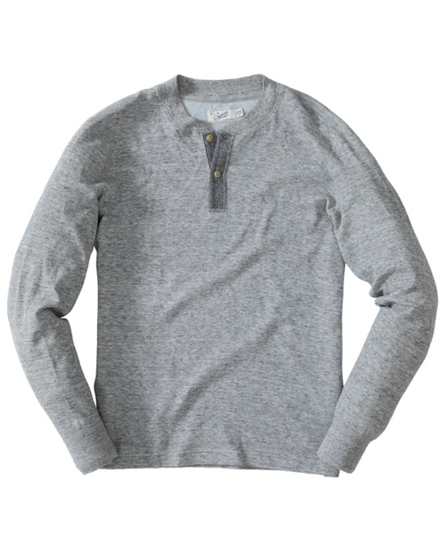 Mens New Windsor Double Cloth Henley - Gray Heather