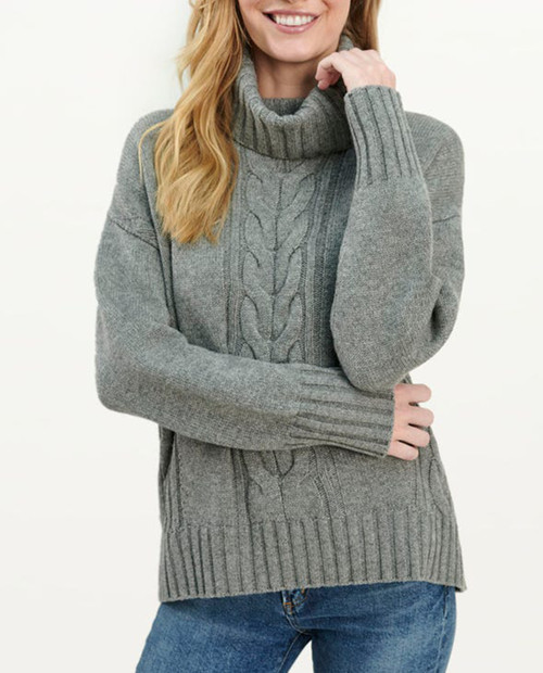 Splendid Womens Cashblend Cable Sweater - Heather Grey