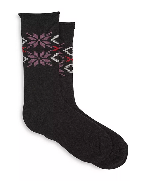 Hue Womens Snowflake Supersoft Roll Top Boot Sock