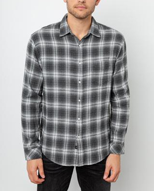 Rails Mens Brushed Lennox Button Up Charcoal Grey Heather Cream