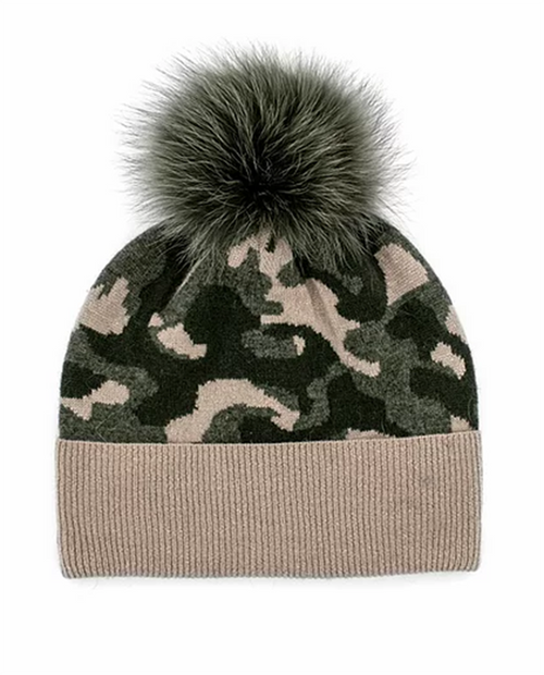 Mitchies Womens Knitted Camoflage Hat With Lurex