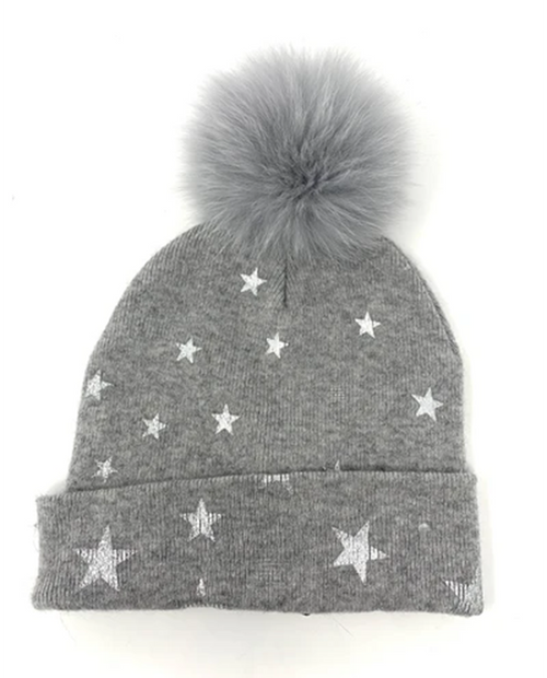 Mitchies Womens Knitted Hat with Foil Stars