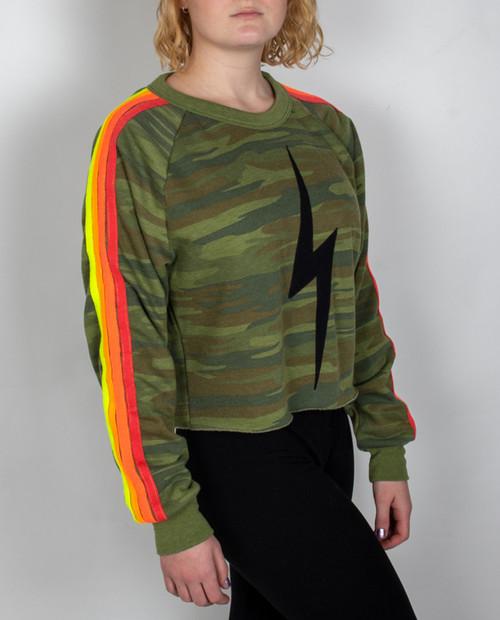 Womens Bolt Cropped Classic Crew Sweatshirt
