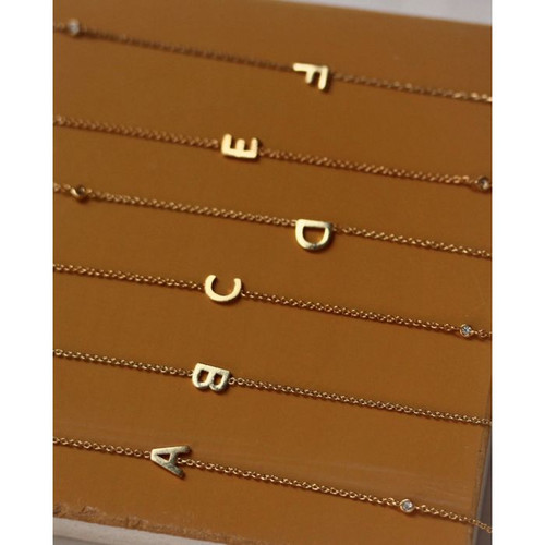 Gold Simple Chain Initial Necklace