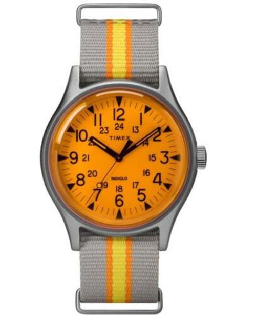 TIMEX MK1 Aluminum Califonia Orange Dial Taupe Fabric