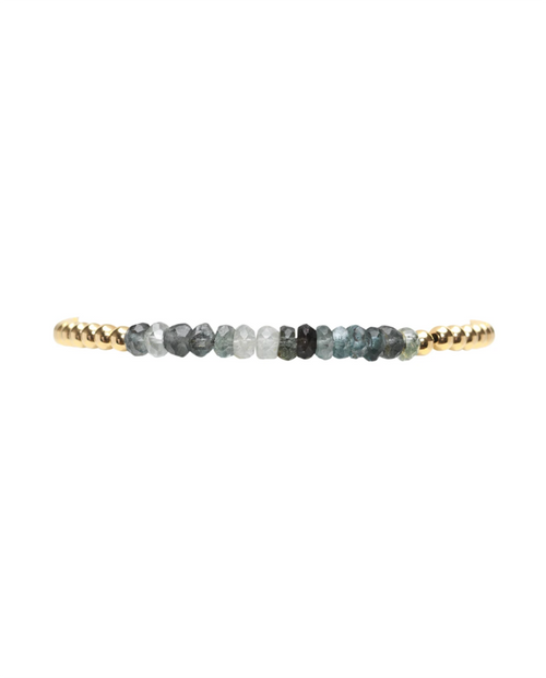 3mm Yellow Gold Filled Bracelet with Moss Aqua