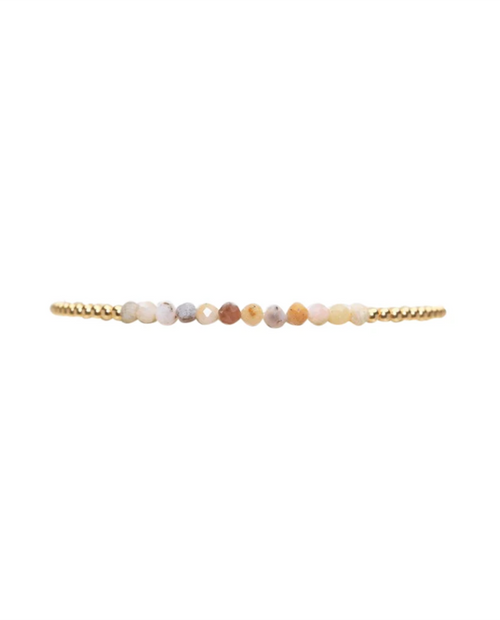 2mm Gold Beads with Mixed Opal