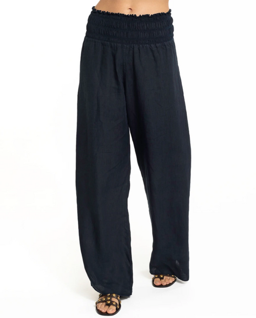 Ruched Band Wide Leg Linen Pant