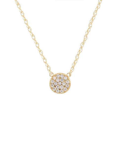 Round Pave Charm Necklace