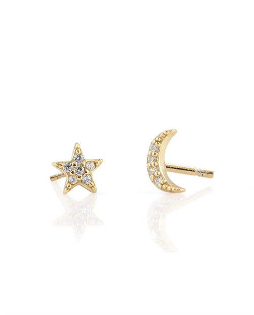 Star and Moon Pave Stud Earrings in Gold Vermiel