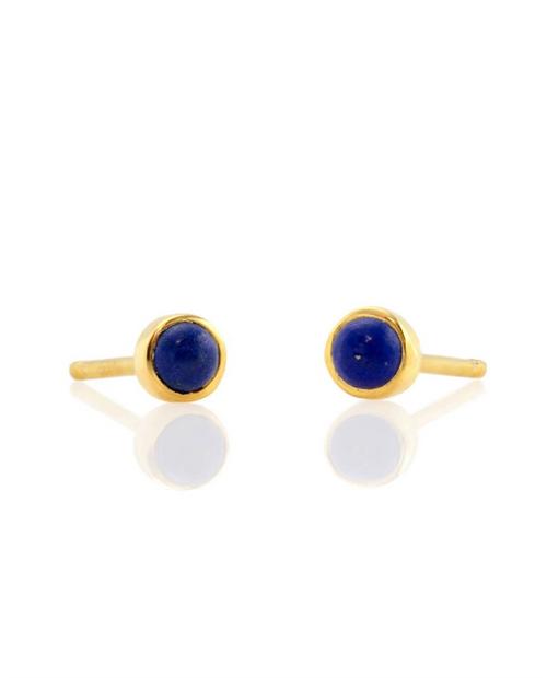 Gemstone Stud Earrings - Gold Vermile