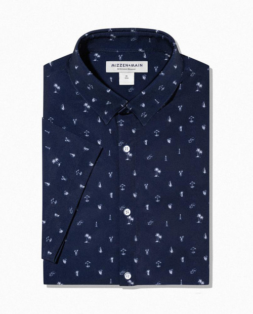 MIZZEN AND MAIN Leeward - Navy Palm Print