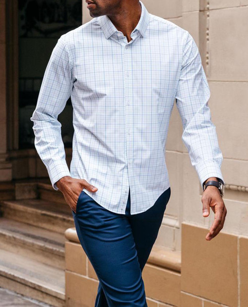 MIZZEN AND MAIN Leeward - Aqua Blue Tattersall