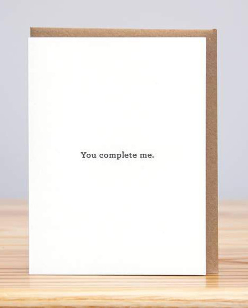 HUCKLEBERRY LETTERPRESS You Complete Me Card