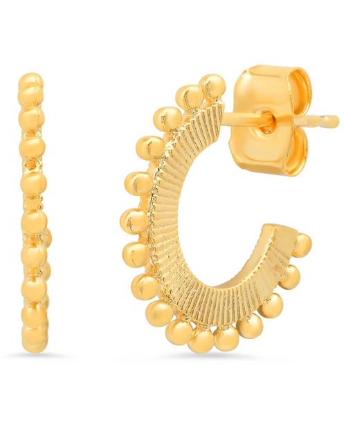 Womens Gold Dot Huggie Earring
