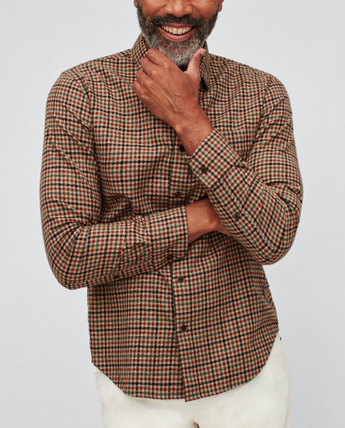 Mens Brushed Button Down Slim - Camel Check