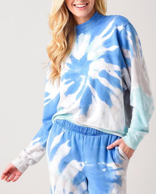STATESIDE Women's Tie Dye Viscose Fleece Mock Neck Sweatshirt