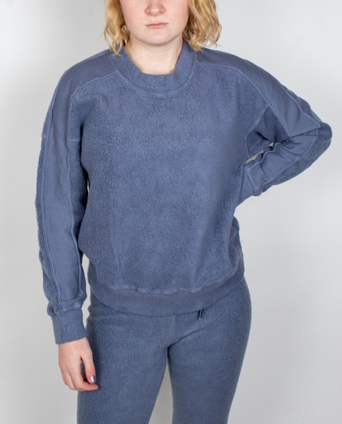 Womens Sherpa Panel Sleeve Sweatshirt
