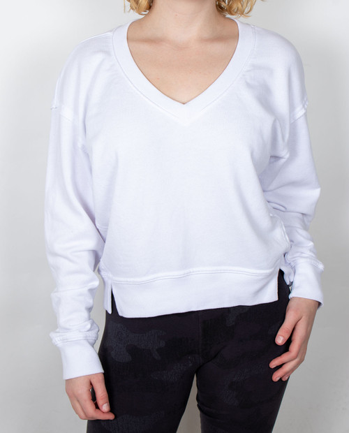Womens Camila V Neck Crop Sweatshirt