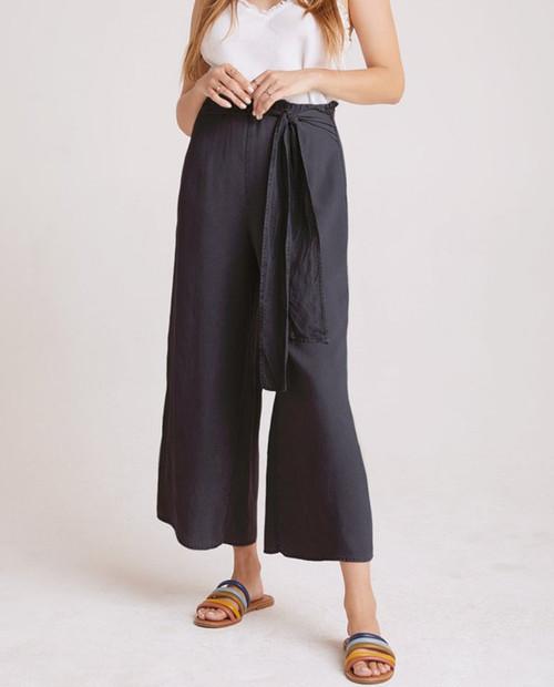 BELLA DAHL Womens Tie Waist Wide Leg Crop