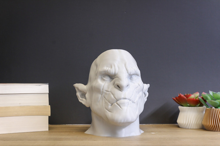 Orc Head Paintable Bust