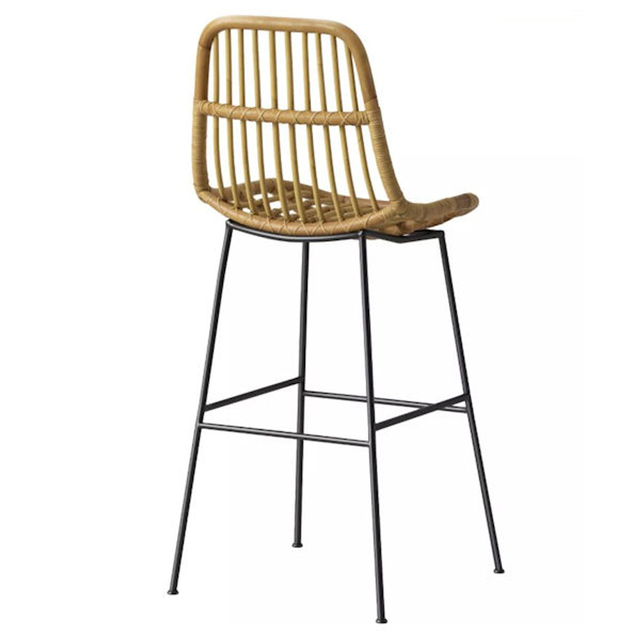 Linnet Rattan with Metal Legs Barstool Light Brown