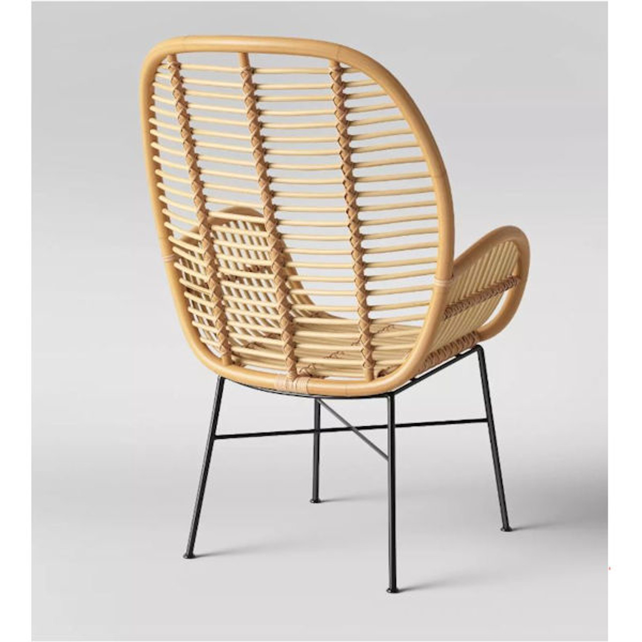 Lily Rattan Arm Chair with Metal Legs - Assembly Required