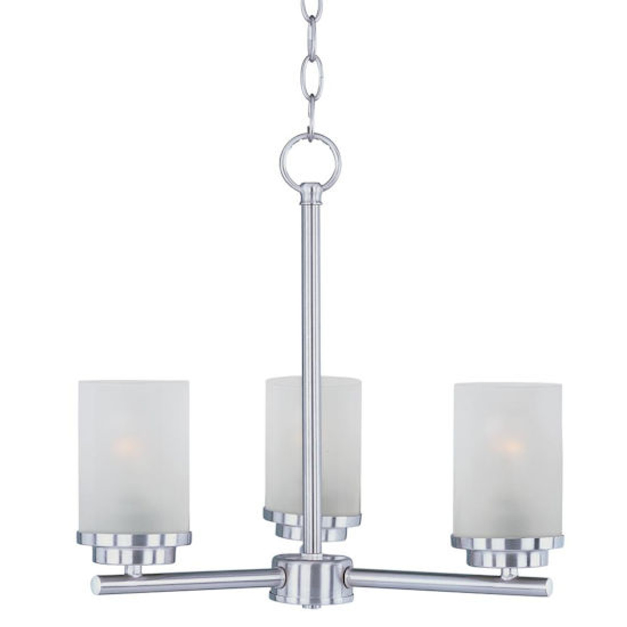 Maxim Lighting Corona 3-Light Chandelier with Frosted Shade, Satin Nickel