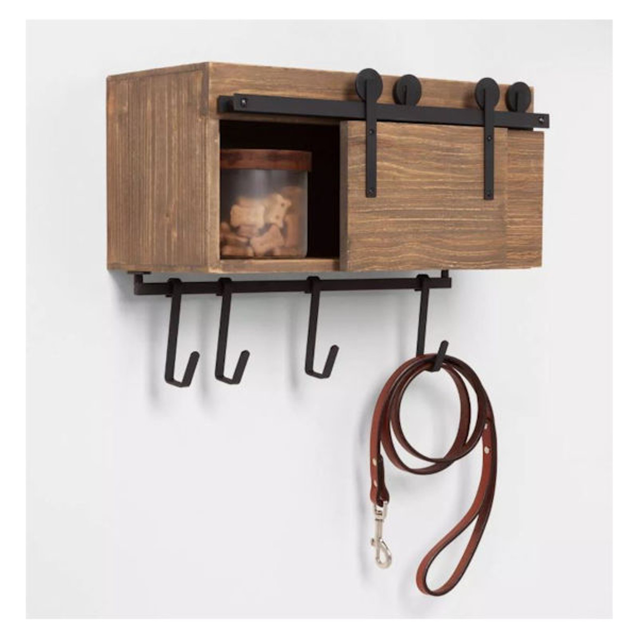 Entryway Barn Door Hook Rail With Cabinet Brown