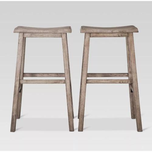 "29"" Trenton Saddle Seat Barstool in Dark Gray Wash - Set of 2"