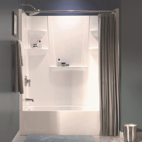 A2 8 in. x 60 in. x 62 in. 1-piece Direct-to-Stud Shower Wall Panel in White