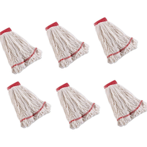 Rubbermaid Large C253 Swinger Loop Mop Heads, Pack of 6 (RCPC253WHI) - White