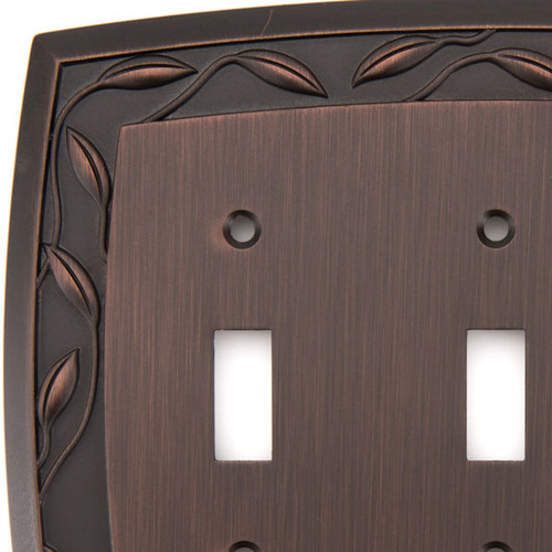 allen + roth 3-gang Dark Oil-rubbed Bronze Standard Toggle Wall Plate -Pack of 5