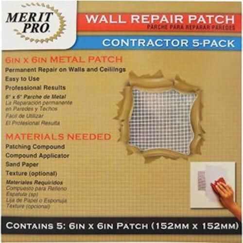 "Merit Pro 03220 6"" x 6"" Wall Repair Patch, 5 per Pack - Case of 6"