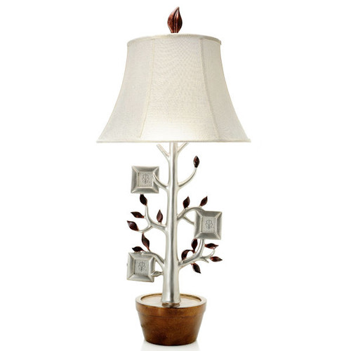 "Style at Home with Margie 35"" Family Tree Table Lamp w/ 3 Photo Frames"