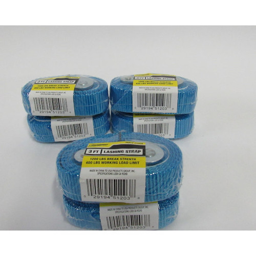 PROGRIP 512038 3 FT Lashing Strap (Aero Cam Buckle Blue Webbing)6 Pcs(see notes)