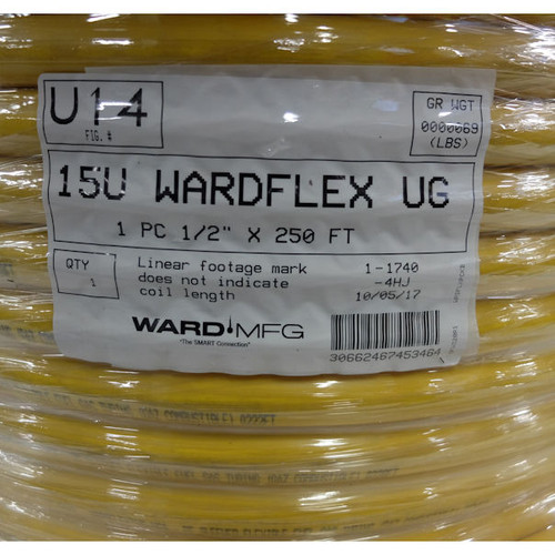 "15U Wardflex UG 1 PC  1/2"" x 250 ft ,PE Sleeved Flexible Fuel Gas Tubing"