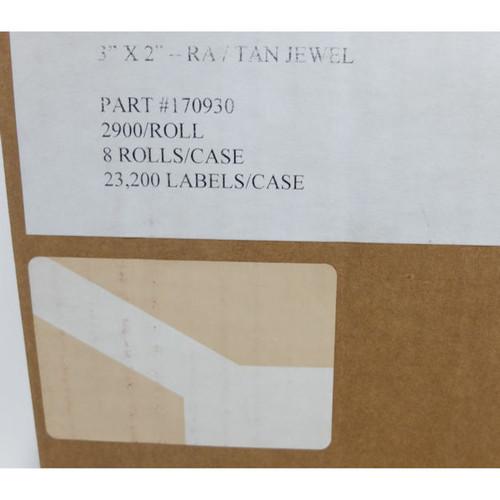 """3"""" x 2"""" RA/TAN JEWEL PART # 170930 ,2900 ROLL/ 8 Rolls per Case"""