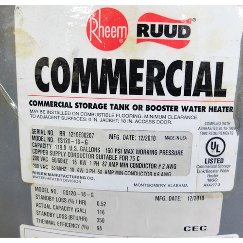Rheem ES120-18-G 208-Volt 18kW 3-Phase Commercial Electric Surface (see notes)