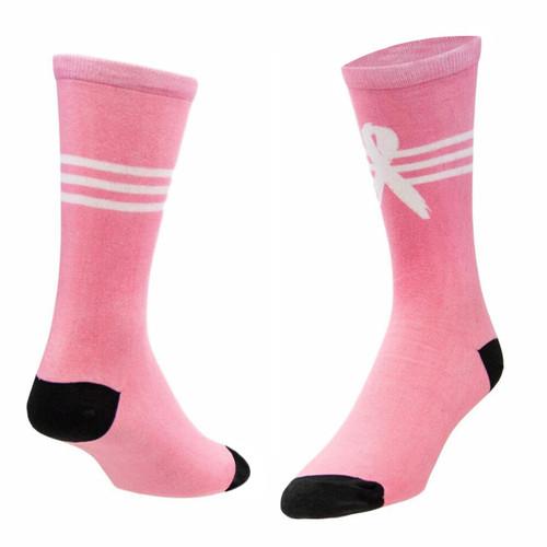 Sublimity® BCA White Ribbon Novelty Socks (1 Pair) Women's Casual Dress Socks, One Size Fits Most