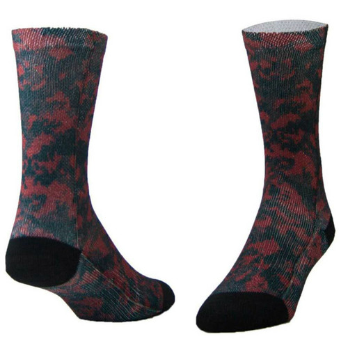 Sublimity® Camouflage Print Crew Socks Tactical Black & Red (1 Pair) Size 9-11