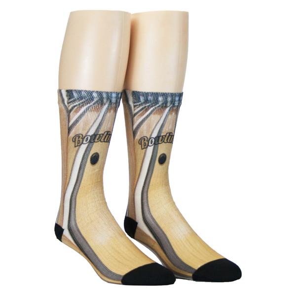 Sublimity® Print Bowling Crew Socks (1 Pair) Bowling Alley
