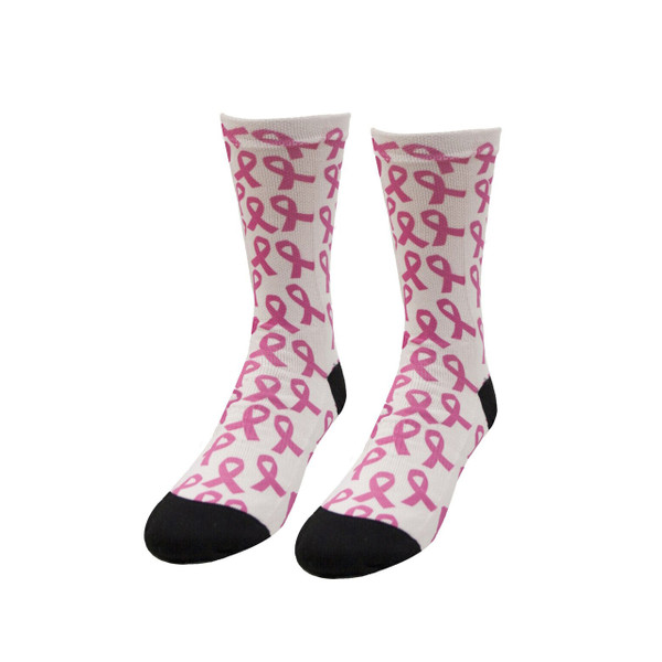 Sublimity® Pink Ribbon Bouquet Print Socks Breast Cancer Awareness (1 Pair) Size 7-9, 9-11, 10-13