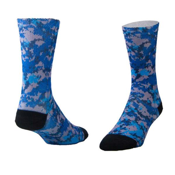 Sublimity® Camouflage Print Crew Socks Sport Blue Camo (1 Pair) Size 9-11