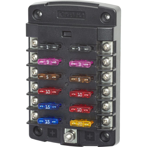 Blue Sea Systems ST Glass 6-Circuit Fuse Block with Negative Bus and Cover Acr Electronics 5015