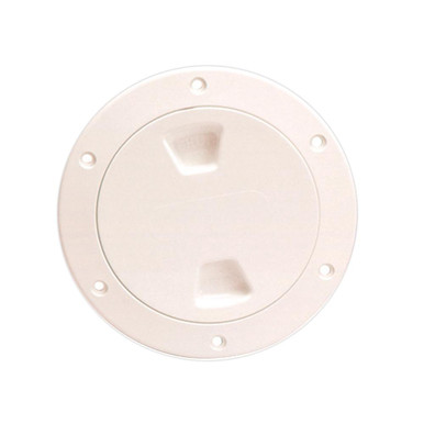Beckson DP40-W Smooth Screw-Out Marine Deck Plate White 4/""