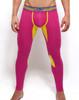 Mens Underwear  - Front view of SUPANOVA galactic pink / yellow leggings by SUPAWEAR