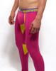 Mens Underwear  - Side view of SUPANOVA galactic pink / yellow leggings by SUPAWEAR