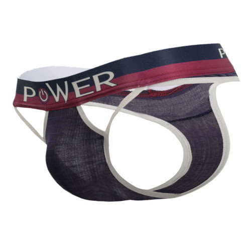 Mens Underwear - Front view of Male Power French Terry Cut Out Thongs